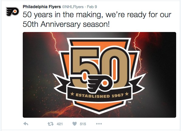 Philadelphia Flyers Tweet about new philadelphia logo design by hypno
